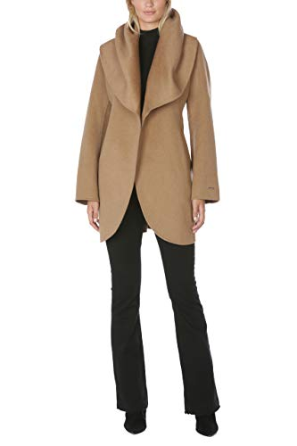 T Tahari Women's Double Face Wool Blend Wrap Coat with Oversized Collar, Camel, Small