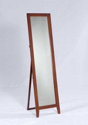 King's Brand Brown Finish Wood Frame Floor Standing Mirror