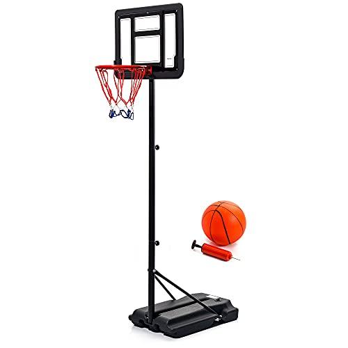 meteor Basketballständer mit Basketball Set Basketballkorb höhenverstellbar Ständer Tragbares Basketballtor Rückenbretthöhe Platzausrüstung für Erwachsene Kinder
