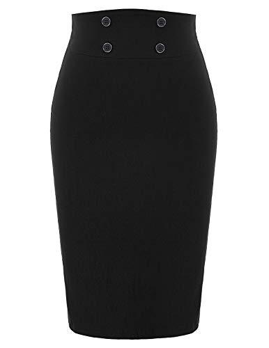 Women's High-Waisted Stretch Bodycon Midi Pencil Skirt Black, Size S