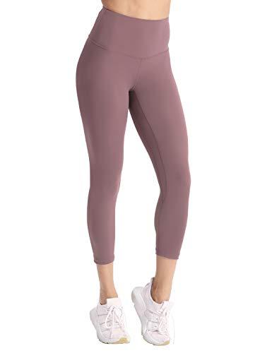 coastal rose Women's Capri Yoga Pants High Waist Workout Leggings Ultra Soft Brushed Cropped Yoga Leggings with Inner Pocket Light Purple L