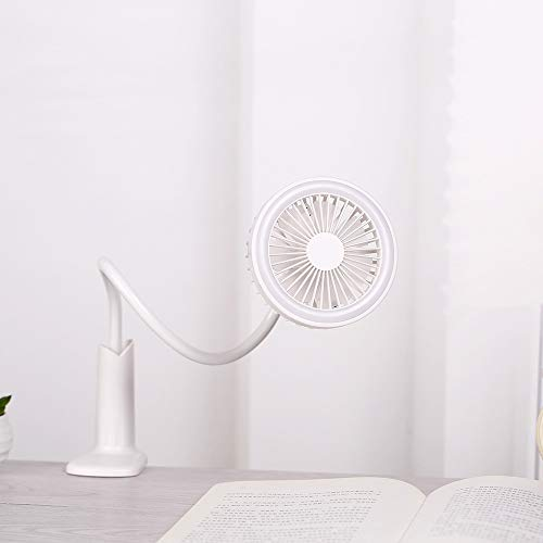 AIYASHIWEI USB mini-ventilator USB-oplaadbare bureaustoel slaapzaal nacht fan clip tafellamp kleine ventilator, wit