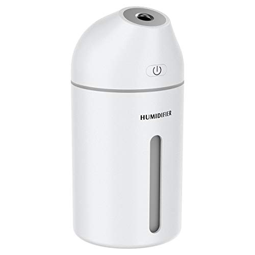 Homasy Humidifier, 320ml Portable Mini Humidifier, Small Cool Mist Humidifier, USB Desktop Humidifier for Car Baby Bedroom Travel Office, 19dB Whisper Quiet, 2 Mist Modes, Up to 8 Hours, All White