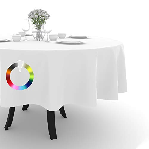 Rollmayer Tischdecke Tischtuch Tischläufer Tischwäsche Gastronomie Kollektion Vivid Uni einfarbig pflegeleicht waschbar (Weiß 1, Rund Ø 120cm)