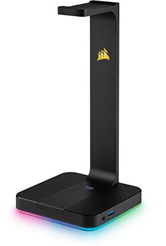 Trust Gaming GXT 658 Tytan 5.1 Surround PC-Lautsprecher Set mit Fernbedienung (180 Watt, LED Beleuchtung) Schwarz & Corsair ST100 Premium Kopfhörer-Ständer (7.1 Dolby Audio Ausgang) schwarz