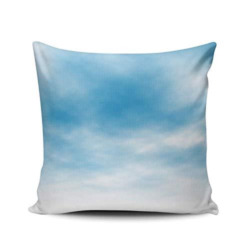 GOSMAO Funda de Almohada Nubes de luz en el Cielo Azul Algodón Lino Throw Pillow Case Funda de Almohada para Cojín 45x45 cm