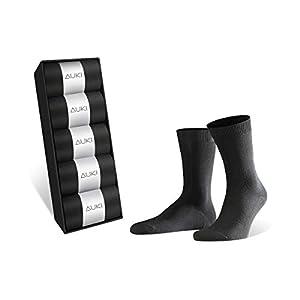 AUKI 靴下 メンズ ビジネス ソックス [吸汗速乾] 抗菌防臭 綿 24-28㎝ 黒 … (5足)