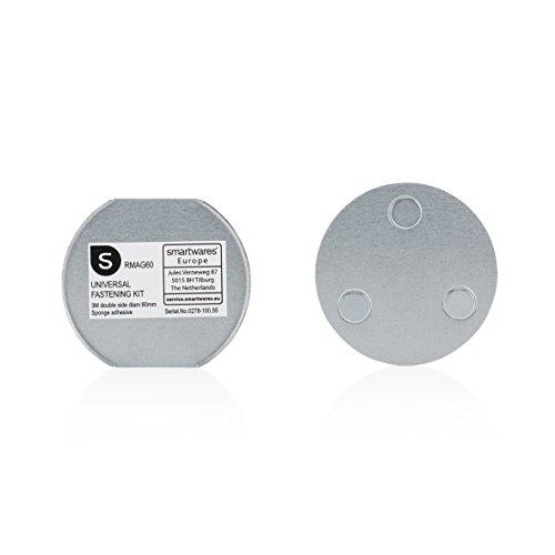 Smartwares RMAG60 Magnetbefestigungsset für Rauchmelder, 6cm Durchmesser, Silber, 6 cm