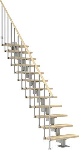 DOLLE Raumspartreppe mit Birke Multiplex Stufen | 11 Stufen |Geradelaufend |Geschosshöhe 222-270 cm |Mittelholmtreppe | Innentreppe | Holztreppe | Bausatz |Extra breite Stufen |inklusive Geländer