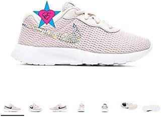Rhinestone Crystal Bedazzled Pinkish Purple Little Girls' Nike Tanjun Print 10.5-3 Running