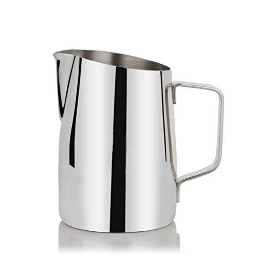 Dingziyue 304 roestvrij staal Pull Cups Barista Special melk opschuimen Pitcher Oblique Mouth 450ml (Color : Glossy)