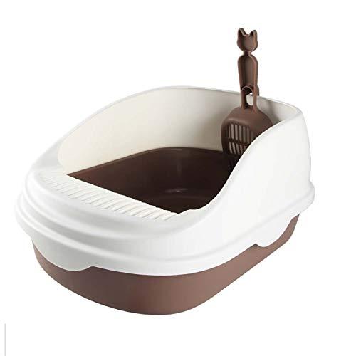 HAI RONG Caja de Arena Limpia Caja de Arena de Gato Semi-Cerrado Anti-Spatter Gato Pot Suplementos para Mascotas Caja para Mascotas Interior Premium (Color : Brown)
