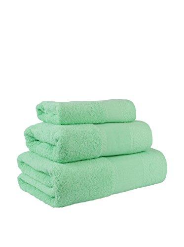 Flor de Algodón Panama Juego de 3 toallas algodón, VERDE AGUA, 30x50, 50x90, 100x140, 3