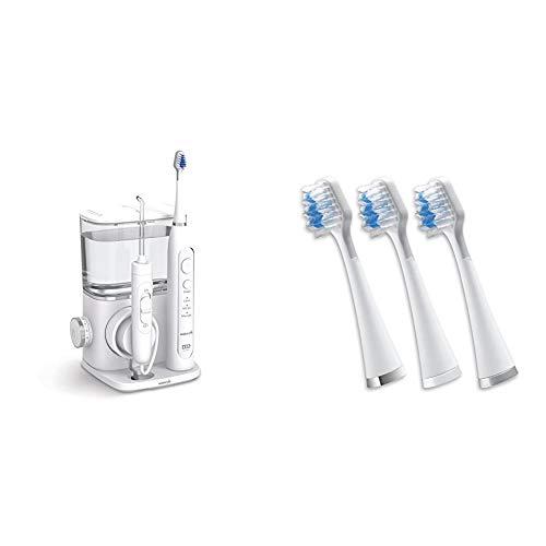 Waterpik Complete Care 9.0 - Cepillo de dientes eléctrico sónico y irrigador bucal + Cabezales de Recambio del Cepillo Sónico Triple Complete Care, Color Blanco, 3 Unidades