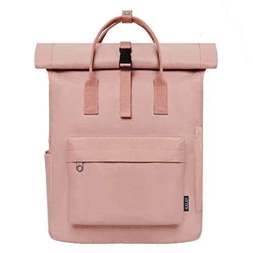 KALIDI Backpack Roll top Rucksack Women & Men School Bag Unisex Water-Resistant Travel Laptop Backpack fits 15 inch MacBook Laptop,Pink