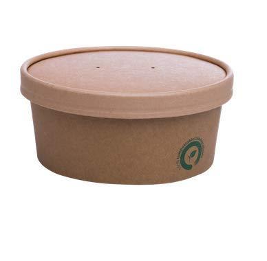 bio3 Contenedor Desechable con Tapa Comida para Llevar, Ideal para Alimentos con liquido,100% Biodegradable y Compostable, Paquete con 25 Juegos (25 envases + 25 Tapas) (300ml)