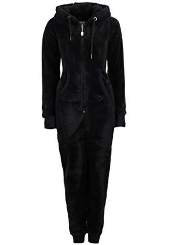 Eight2Nine Damen Jumpsuit aus kuscheligem Teddy Fleece | Overall | Ganzkörperanzug mit Ohren black1 S/M - 2