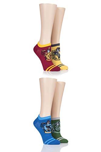 Film & TV SockShop Damen Harry Potter Haus Abzeichen Baumwolle Trainer Socken Packung mit 4 Assortiert 36-40