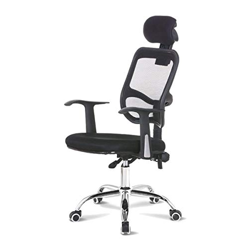 Ergonomic Office Chair Mesh Chair, High Back Desk Chair, Computer Chair, Height Adjustable Seat, Tilt Tension, Headrest, Armrest, Lumbar Support (Color : Black)