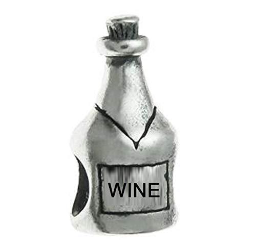 EvesCity - Abalorio de plata de ley 925 para botella de vino y bebidas alcohólicas