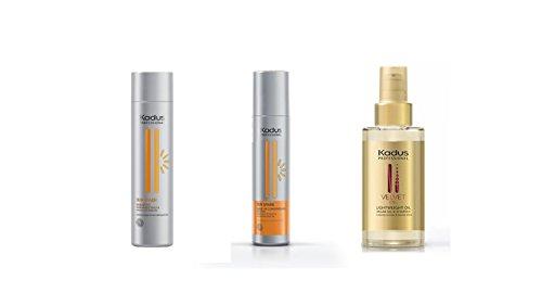 Kadus Champú New Sun Spark 250 ml – Aceite de ojos de 250 ml – Velvet Oil 100 ml