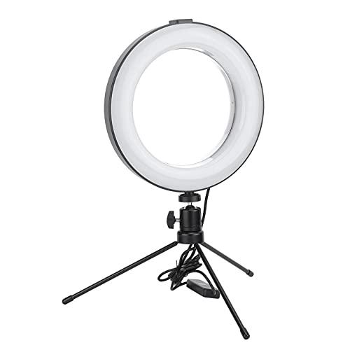FECAMOS Anillo de luz Circular, Anillo de luz 26 Tipos de Modo RGB Luz de Anillo Luz cálida/Luz Blanca/Luz Blanca cálida Tres Fuentes de luz para Maquillaje de Video, fotografía de Selfies
