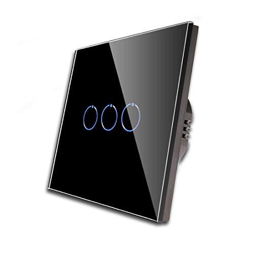 CNBINGO Interruptor de luz triple negro, interruptor táctil, con panel táctil de cristal y LED de estado, no se necesita conductor neutro, interruptor de 3 vías, AC 240 V, 500 W/compartimento