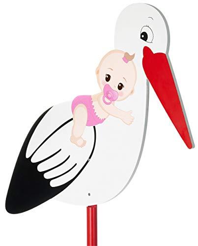 Cicogna Grande in Legno con Rosa Bambino - Cicogna a Sonagli da Attaccare per L'interno E L'esterno - Cicogna Nascita Bambino per Le Bambine - Grande 100 cm