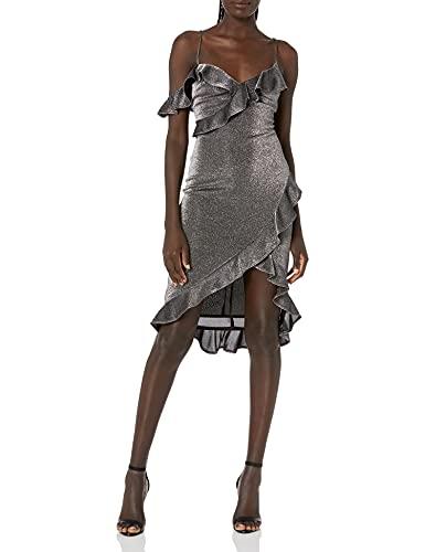 LIKELY Women's Evangeline Stretch Metallic Ruffle Party Dress, Silver,...