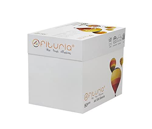 OFITURIA Papel Multiusos para Impresora A4 80 gsm - ( 2500 Hojas – 1 caja)