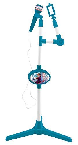 Lexibook S150FZ_50 Frozen 2 Die Eiskönigin ELSA Anna Olaf Mikrofon mit Lautsprecher und beleuchtetem Standfuß, Hilfsbuchse zum Anschließen von Musik, Blau/Violett
