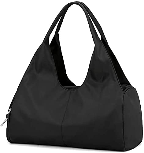 Sporttasche Reisetasche mit Schuhfach und Nassfach Wasserdicht Fitnesstasche Trainingstasche Weekender Damen Handgepäck Tasche Übernachtungs Tasche für Männer und Frauen(Schwarz)