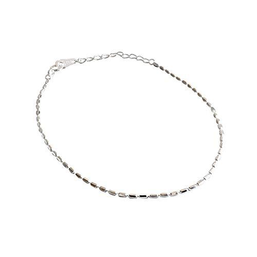 DGFGCS Pulsera de Plata para Mujer Pulsera De Plata De Ley 925 con Cadena De Bambú Dulce Y Bonita De 16 Cm para Mujeres Y Niñas, Regalo De Cumpleaños para Mujer