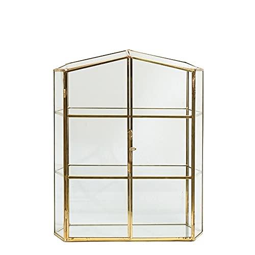 PJDOOJAE Joyero de cobre y vidrio de 3 capas, organice la caja, gabinete de almacenamiento de joyas, estilo europeo, gabinete de almacenamiento de joyas retro hecho a mano, caja transparente de gran c