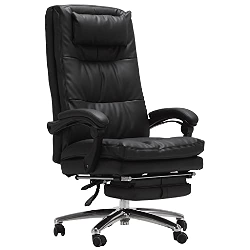Milu deer Sedia da Ufficio Desk Gaming Desk Chair, PU Leather 3D Traspirante Sedile Imbottito Ergonomico Girevole con Supporto Lombare Armrest Regolabile, per Ufficio Studio, Nero