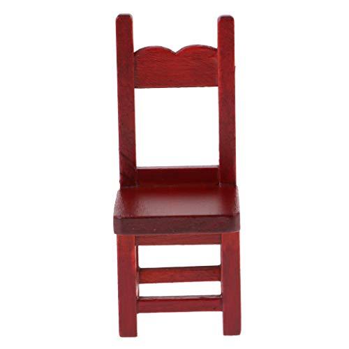P Prettyia Sedia Chair Modello Mobili Furniture Regalo Abbellimenti per Arredamento Dollhouse Ornamenti - Rosso