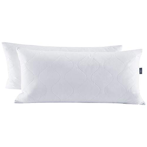 puredown® Almohadas de Plumas y Plumón de Ganso con Funda de 100% Algodón Lavable a Máquina Paquete de 2, 40x80cm