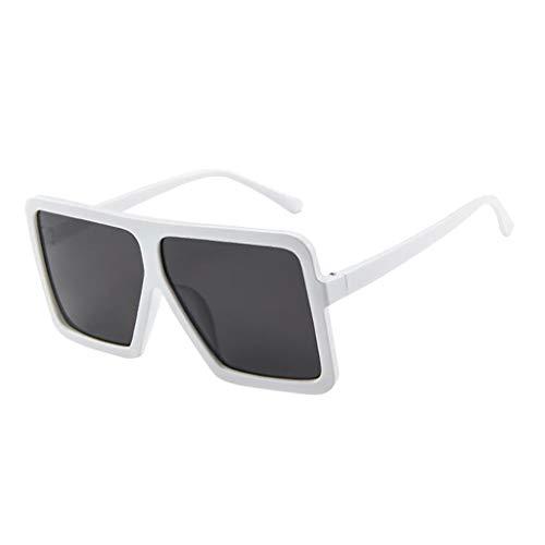 Lazzboy Frauen Männer Vintage Retro Brille Unisex Big Frame Sonnenbrille Eyewear Design Herren Und Damen Mode übergroße Cat Eye(Weiß)