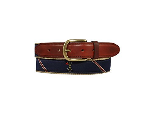 YRI Crossed Clubs Ribbon Belt on Surcingle Backing With Horween Chromexcel Leather Tab (48)