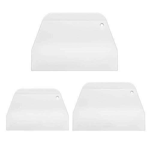 XLKJ 3 Pcs Raspador de Pastel, Raspador de Masa de Plástico, Espátula de Cocina con Forma de Escalera, Cortador de Masa de Plástico para Tartas y Pasteles