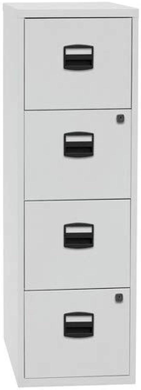 Bisley Home Hngeregistraturschrank PFA, 4 HR-Schubladen, Metall, 645 Lichtgrau, 40 x 41.3 x 132.1 cm