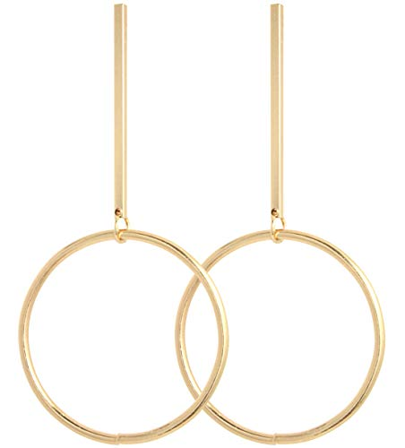 2LIVEfor Lange Statement Ohrringe Stab mit Ring Gold quadratisch Ohrhänger Retro Boho Ohrringe lang hängend Vintage Groß eckig geometrisch modern Ohrringe viereckig mit Reifen Rund Hoop