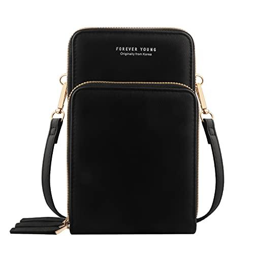 Bolso de teléfono móvil para mujer Monedero de cartera cruzada Mini bolso de teléfono celular cruzado de cuero ligero con ranuras para tarjeta de correa(Negro)