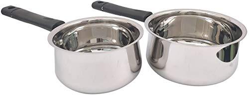 Whopper Set van 2 roestvrijstalen sauspan met inductie basis voor thuis keuken restaurant kookgerei potten en pannen (33 Oz & 50 Oz)