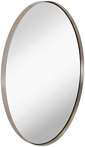 Hamilton Hills Contemporary Brushed Metal Wall Mirror | Oval Silver Framed Rounded Deep Set Design | Mirrored Hangs Horizontal or Vertical (24' x 36')