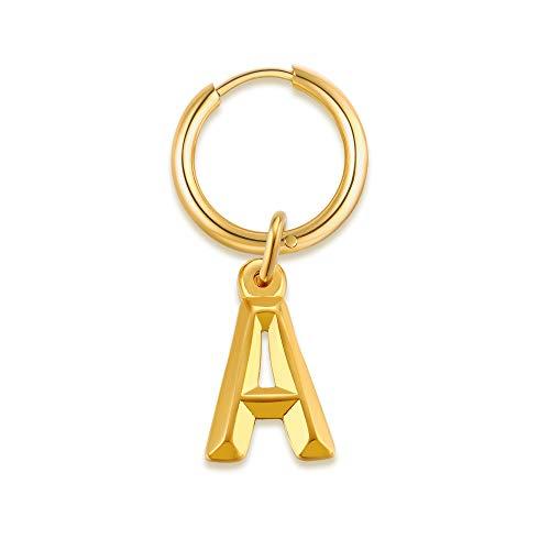 VNOX Pendientes de aro con letra inicial de la A a la Z para hombres y mujeres, pendientes de aro de acero inoxidable, tachuelas del alfabeto de disco pequeño, regalos de Navidad/cumpleaños. Letra A