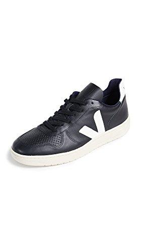 Veja Echtleder Sneaker Zeitlose Herren Low Top Schuhe Freizeit-Schuhe Turnschuhe Schwarz/Weiß, Größe:42