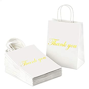 BagDream Kraft Paper Gift Bags with Handles 25Pcs Heavy Duty White Paper Bags Shopping Bags Shiny Gold Foil Thank You Gifts Bags Wedding Party Bags Retail Bags 8x4.25x10 Inches Medium Kraft Bags