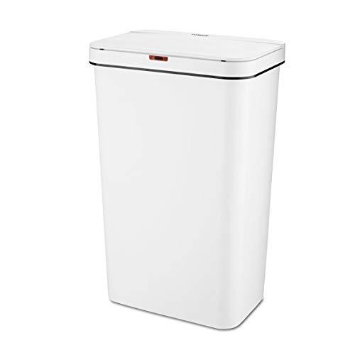 Tower T838005W - Cubo de basura rectangular con sensor exterior recubierto a prueba de huellas dactilares, plástico, 50 L, color blanco
