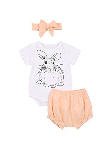 Carolilly Juego de ropa de Pascua para bebé, con impresión de conejo y pelele de manga corta + pantalones cortos + banda con lazo, 3 piezas, completo para bebé y niña de verano Color blanco. 0-6 meses